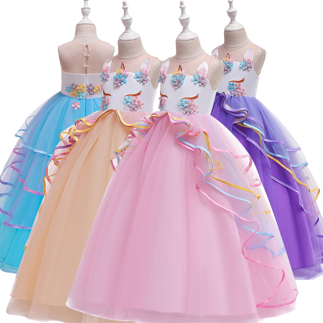 Europe and the United States 2019 children's dress unicorn long dress mesh gauze princess dress show girls dress
