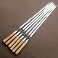 """55cm 21.5 """"Barbecue brochette en acier inoxydable Shish Kebab BBQ fourchette ensemble Long plat manche en bois Barbecue aiguille viande Grill outils d'extérieur 6pc"""