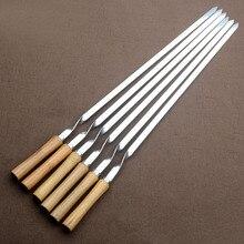 """55cm 21.5 """"churrasco espeto de aço inoxidável shish kebab conjunto garfo para churrasco longo cabo madeira plana churrasco agulha carne grill ferramentas ao ar livre 6pc"""