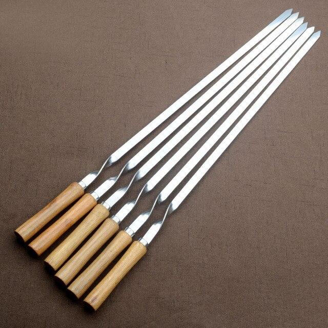 """Ensemble de brochettes pour Barbecue en acier inoxydable, 55cm, 21.5 """", Long manche en bois plat, aiguille pour Barbecue, Barbecue, outils dextérieur, 6 pièces"""