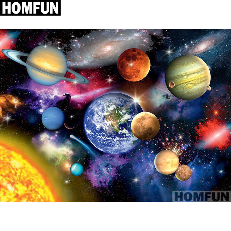 "HOMFUN Full Square/Round Drill 5D DIY Diamond Painting ""Space planet"" 3D Embroidery Cross Stitch 5D Home Decor A01049"
