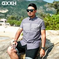GxxH 2018 Large Size 5XL 6XL 7XL Men's Shirt Men's Loose Stripe Print Casual Half Sleeve Dark Gray Shirt Business Social Shirt