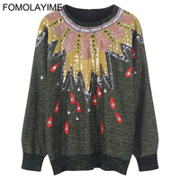FOMOLAYIME Fashion Women's Sweaters 2018 Runway Luxury Brand European Design Party Style Women Pullover Sweater