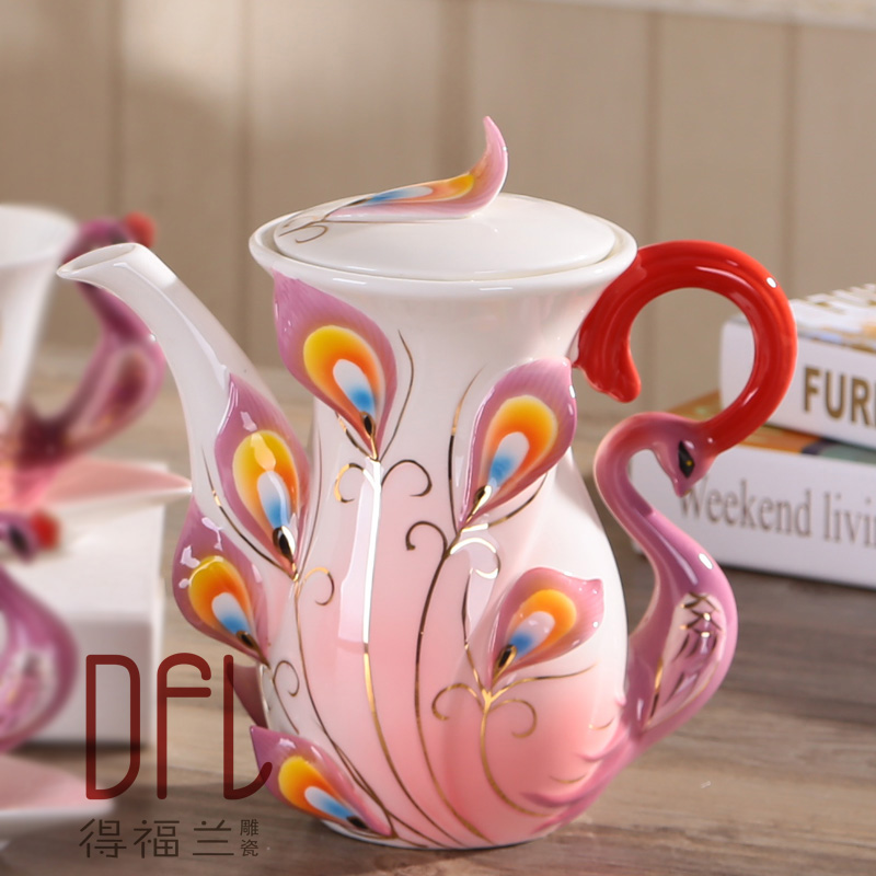 1 PC Creative Peacock Teapot European Coffee Tea Set Ceramic Kettle