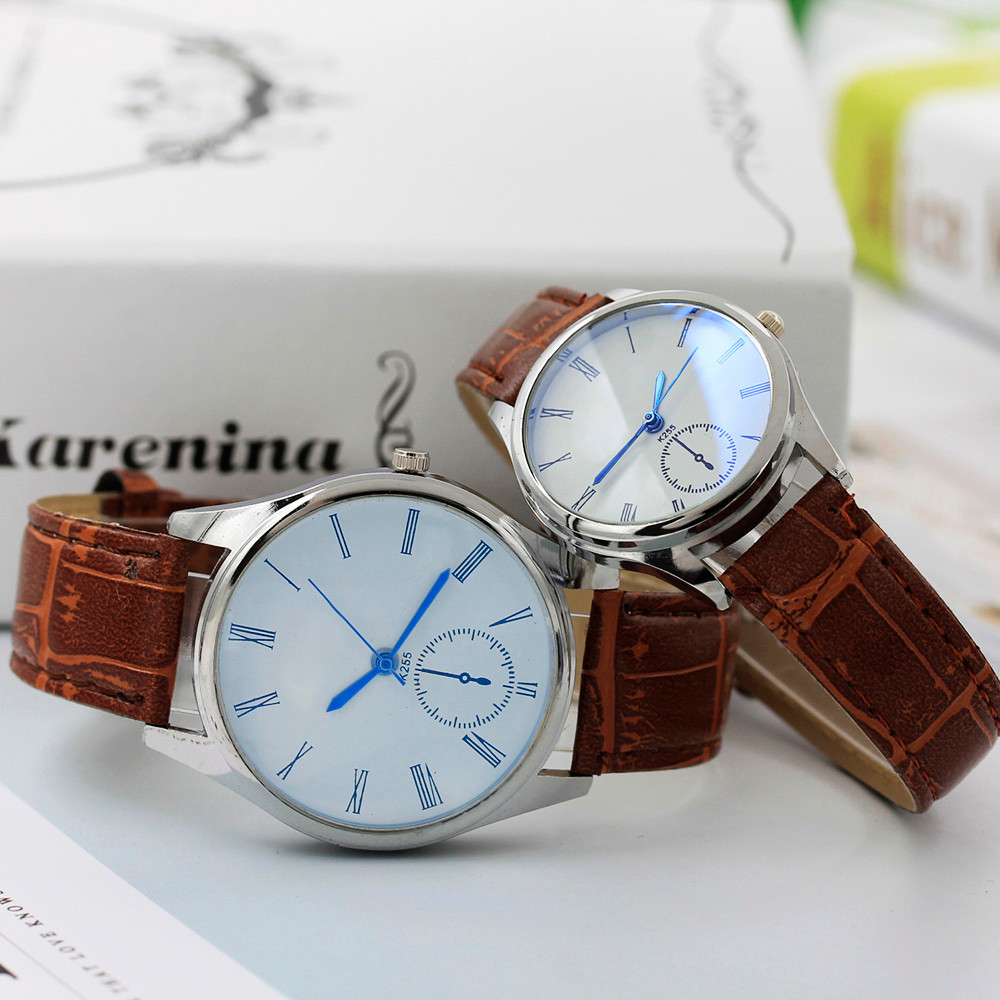 Fashion Women Mens Watch Analog Casual Brown Leather Strap Couple Watches Best Choice For The Couple Women Clock Reloj Mujer