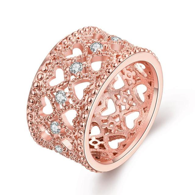 New Yellow Gold / Rose Gold Color White Color Luxury Multicolor Crystal & AAA Zirconia Rings Wedding Heart Hollow Ring Jewelry