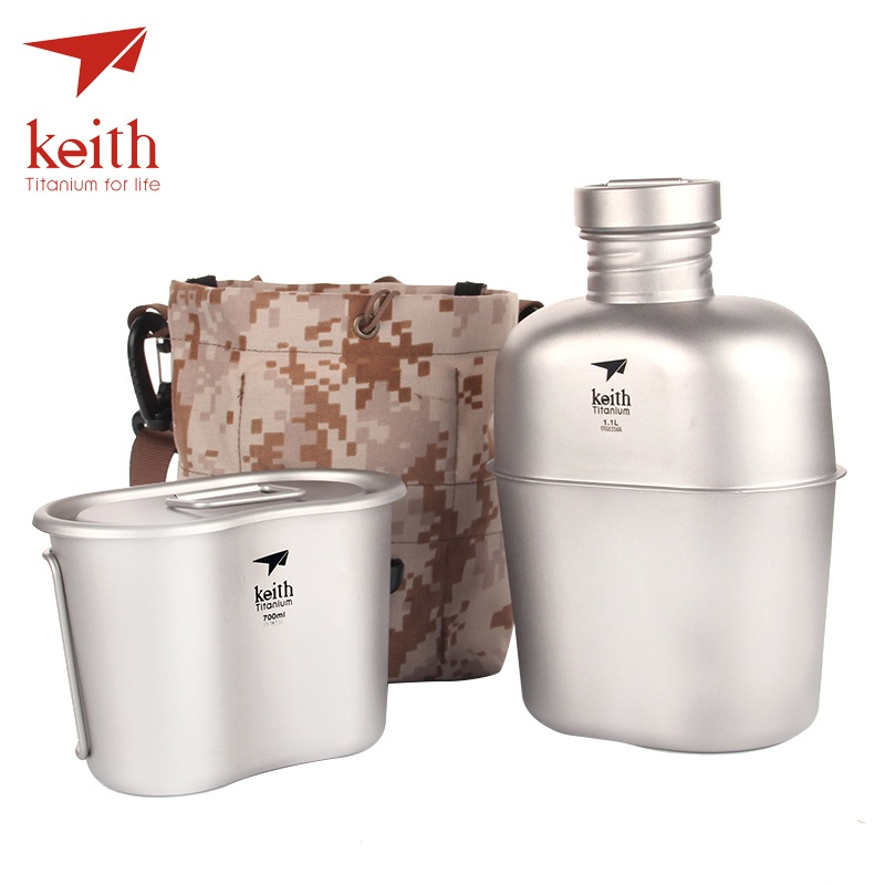Keith Titanium Military Army Tactical Water Bottle kettle Outdoor Sports Lightweight Bottle Cup Set with Molle 1.1L