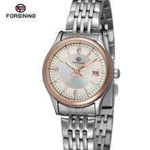 Forsining FSL8089Q4T3 женщины кварцевые часы из нержавеющей стали браслет с розовым золотом цвете баров индекса, высокое качество