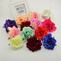 100pcs silk rose heads 9cm Artificial flowers for home wedding car decoration diy Children wreaths fake Needlework Bride bouque
