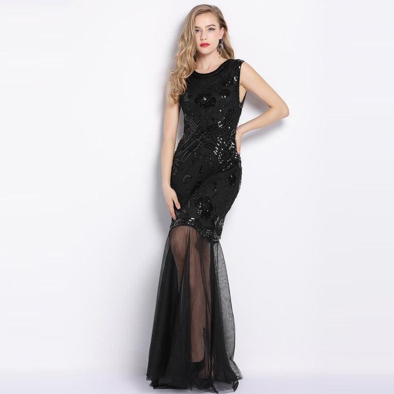 Vintage 1920 s Gatsby paillettes perlées broderie Maxi longues robes transparentes scintillantes femmes robe de soirée pour bal thème fête
