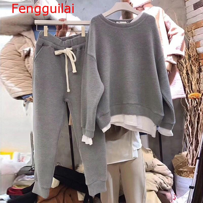 Two Piece Sets 2020 Winter Sweatshirt Female Casual O-Neck Loose Suits Long Sleeve Warm Sets Women Patchwork