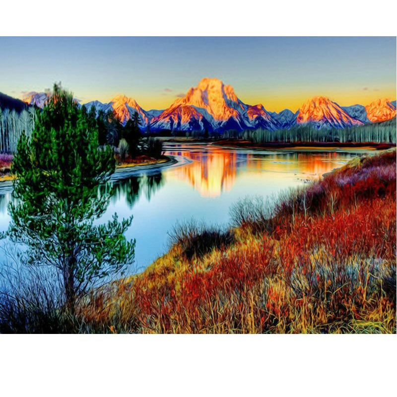 5d  diy diamond painting cross stitch kit Diamond embroidery landscape RIVER mountain picture diamond mosaic pattern gfit