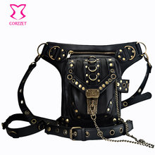 Corzzet Vintage Black Leather Steampunk Rock Men Women Shoulder Corset Bag Holder Gothic Messenger Bag Accessories Corset