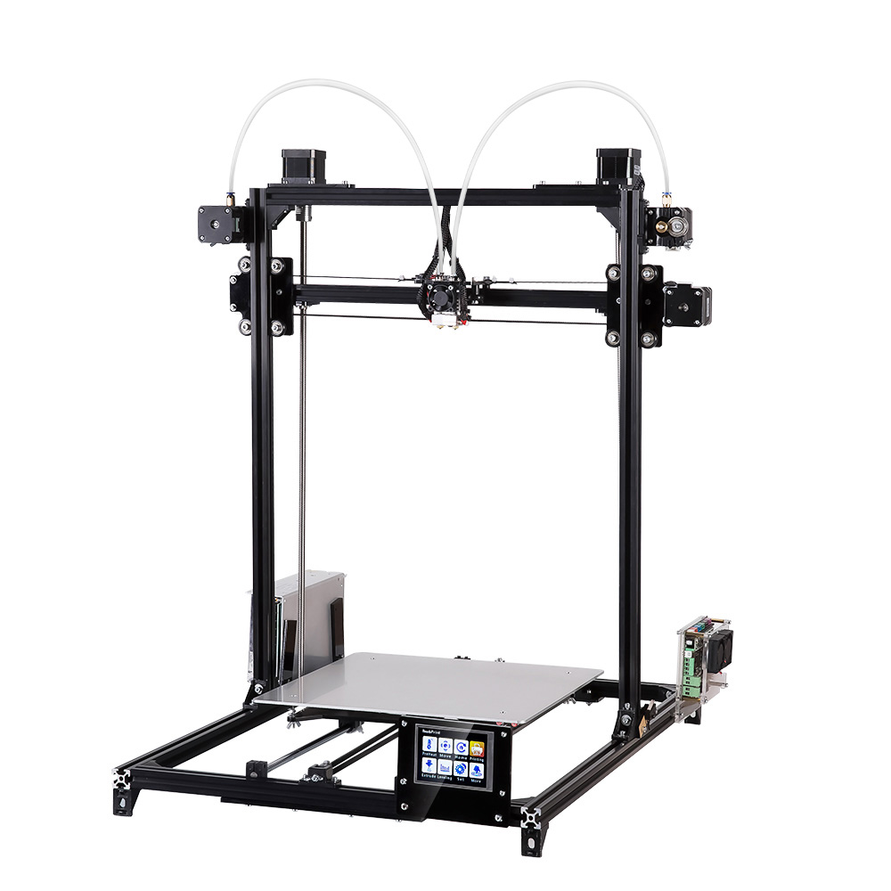 Flsun 3D Printer DIY Kit Large Printing Area 300*300*420 Dual Nozzle Touch Screen Auto Leveling Two Rolls Filament For Free 2017 tronxy x5 newest large printing area open build aluminium frame 3d printer kit flsun cube printer 3d with heated bed