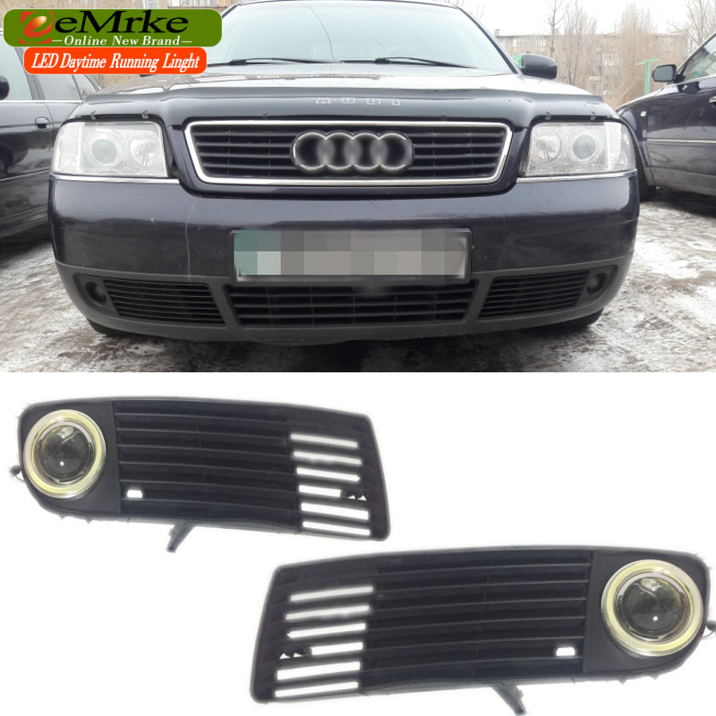EEMRKE Car Styling For Audi A6 C5 1998-2002 COB Angel Eyes DRL Daytime Running Lights H11 Halogen Bulbs 55W Fog Light Headlamp eemrke cob angel eyes drl for kia sportage 2008 2012 h11 30w bulbs led fog lights daytime running lights tagfahrlicht kits page 2
