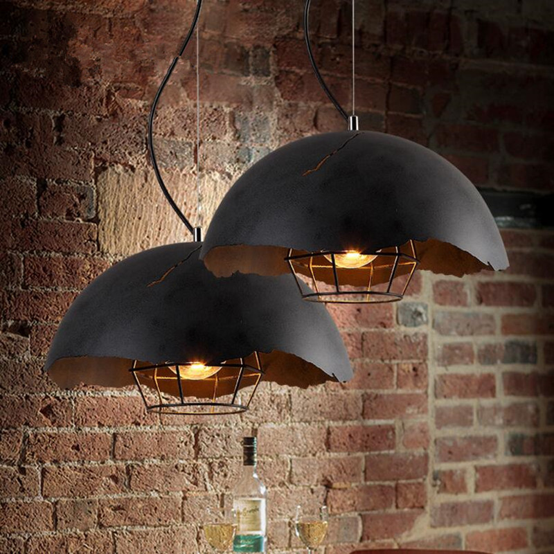 LOFT Industrial Retro Iron Lid Restaurant LED Pendant Lamp Art Vintage Bar Cafe Decor Hanging Lighting Fixture Free Shipping vintage retro new pendant light lamp bar shop lighting led lighting ceiling lamp fixture e27 90 260v three colors free shipping