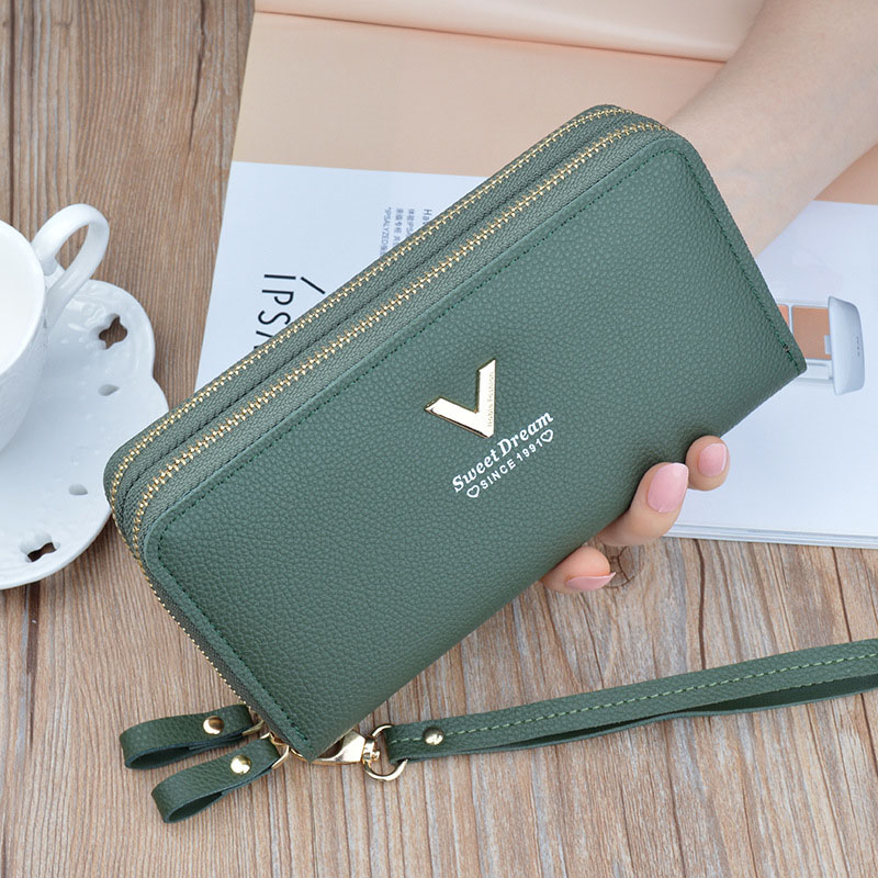 Phone Purses Women Wallets Big Female Purse Leather Brand Retro Ladies Long Woman Wallets Card Clutch Double Zipper D-7929