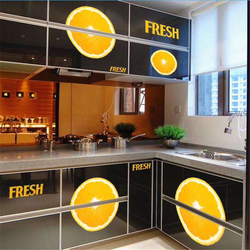 Kitchen Dining wall sticker yellow fresh lemon juice wall decals diy mural pvc wallpaper creative kitchen room door decoration ...