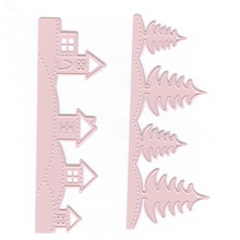 YaMinSanNiO 2 Pcs/lot Metal Cutting Dies Scrapbooking For Card Making DIY Embossing Cuts New Craft Tree House Decoration Frame