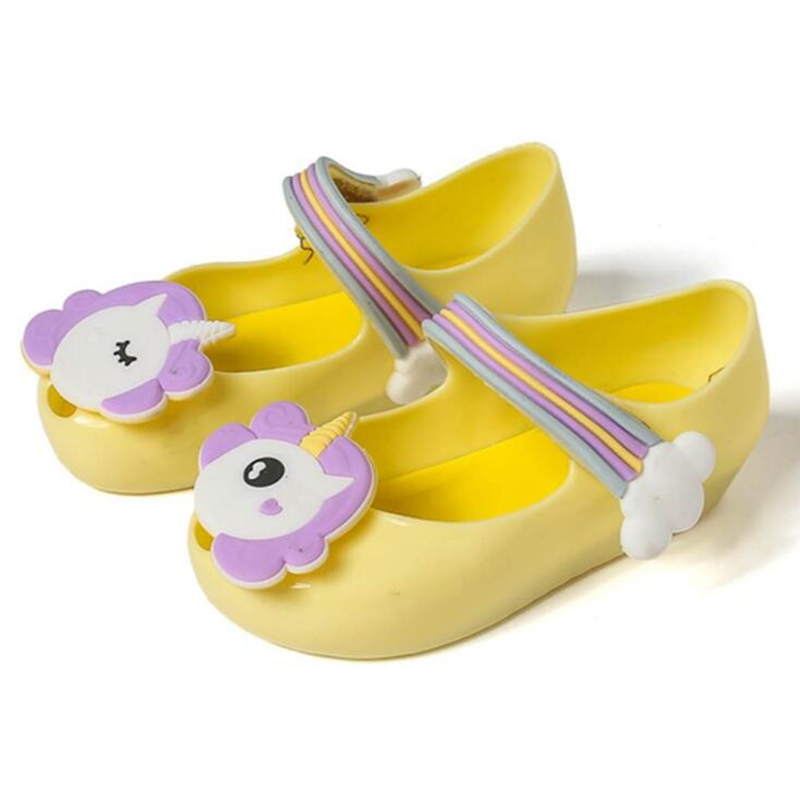New Summer Girls Sandals Jelly Shoes Baby Girls Sandals Rainbow Unicorn Anti-Skid Beach Sandals Shoes