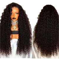 DLME 26Inch Black Wig Heat Resistant Synthetic Lace Front Wig With Natural Hairline 180% Density Curly Wigs For Black Women