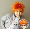 SUNCOS Bleach Kurosaki Ichigo Yellow  short cosplay wig Party hair Heat resistance fibre anime free shipping +Cap