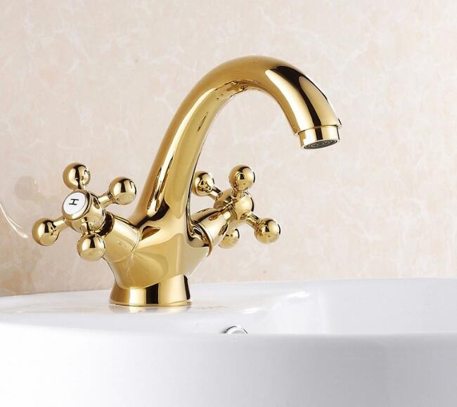 Bathroom golden dual handle taps washbasin sink faucets hot and cold water mixer faucet все цены