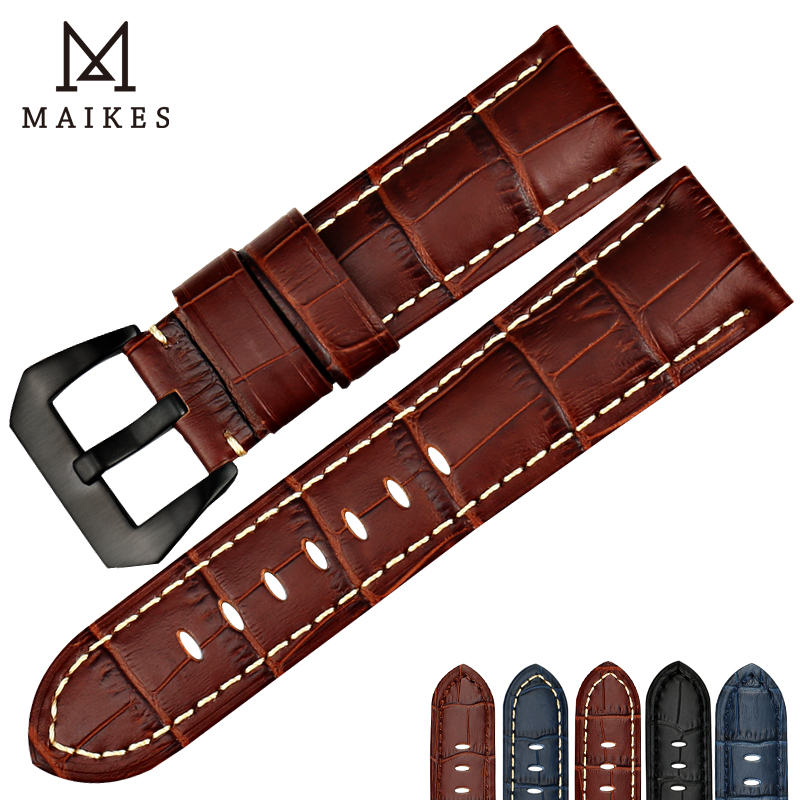 MAIKES New design 22mm 24mm 26mm watch accessories watchbands genuine leather watch band strap for Panerai watch bracelet belt in Watchbands from Watches
