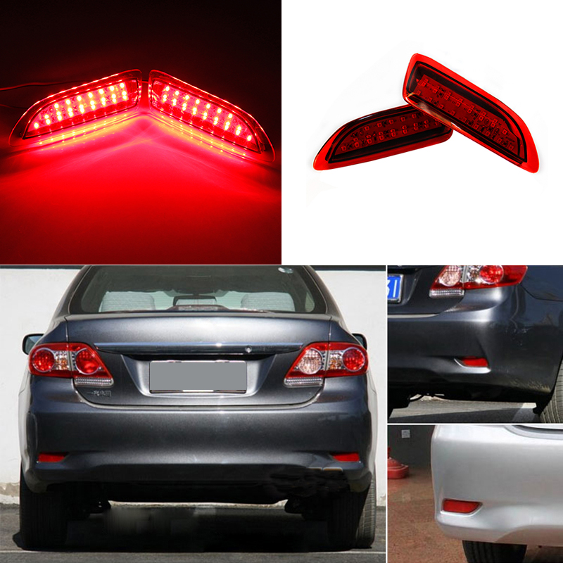 For 2011-2012 Toyota Corolla Lexus CT Parking Warning Brake Tail Lamp Red Lens Rear Bumper Reflector Light LED Red Bulb 2pcs купить дешево онлайн
