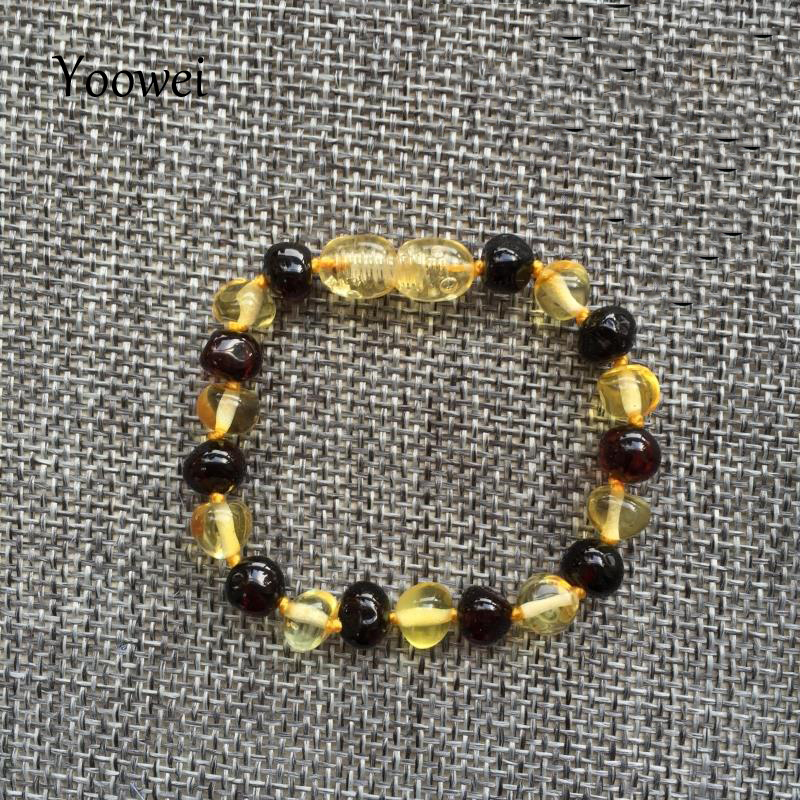 Yoowei Baby Teething Amber Bracelet for Boys Girl Best Women Ladies Gift Natural Baltic Amber Jewelry Adult Anklet Sizes 13-23cm
