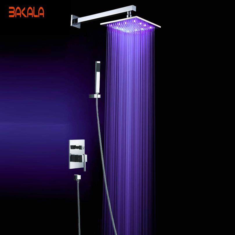 luxury wall mount color changing bathroom rain shower set faucet 10shower