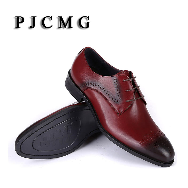 PJCMG High Quality Genuine Leather Carved Lace-Up Pointed Toe Red/Black Wedding Men Flats Buckle Oxford Dress Oxfords Shoes high quality carved black red mens dress oxfords lace up pointed toe genuine leather wedding mens business for work shoes