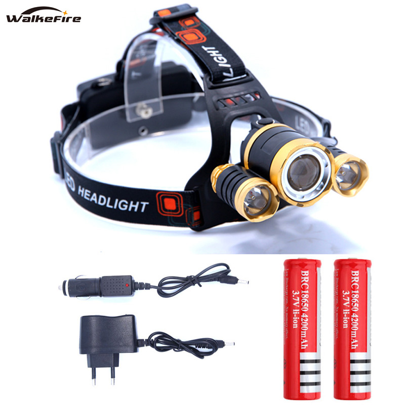T6 XM-L+2Q5 Led Headlight 10000LM Headlamp Head Torch Linterna 18650 Rechargeable Battery Ac Car Charger Fishing Light Lamp