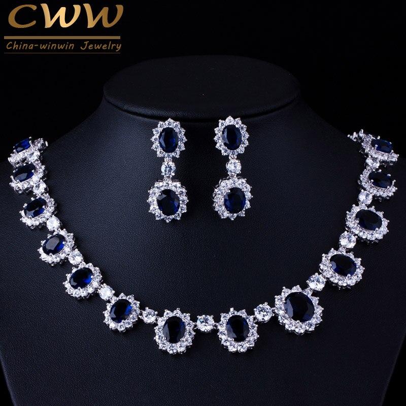 CWWZircons бренд великолепный Micro инкрустация Полный CZ камни вокруг темно-синий хрустальный цветок вечерние Наборы свадебных ювелирных изделий ...