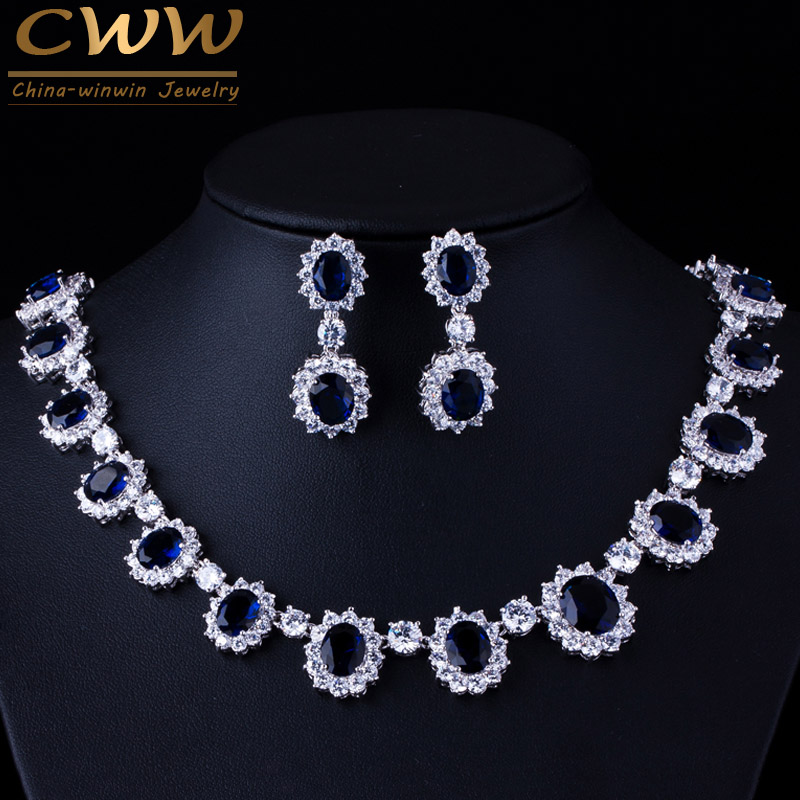 CWWZircons Marca Preciosa Micro Inlay Full CZ Stones Alrededor Azul Oscuro Crystal Flower Party Wedding Jewelry Sets Para Mujeres T159