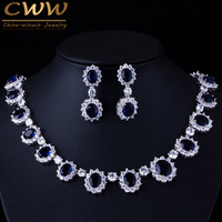 CWWZircons Brand Gorgeous Micro Inlay Full CZ Stones Around Dark Blue Crystal Flower Party Wedding Jewelry Sets For Women T159