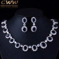 Gorgeous Micro Inlay Full CZ Diamond Around Dark Blue Sapphire Oval Shape Crystal Flower Jewelry Sets