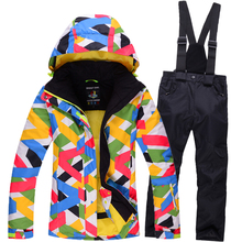 Big Children Snow Jacket colorful Ski suit set outdoor Small skiing snowboard Costume thermal jacket + bib pant Gilr/Boy Clothes