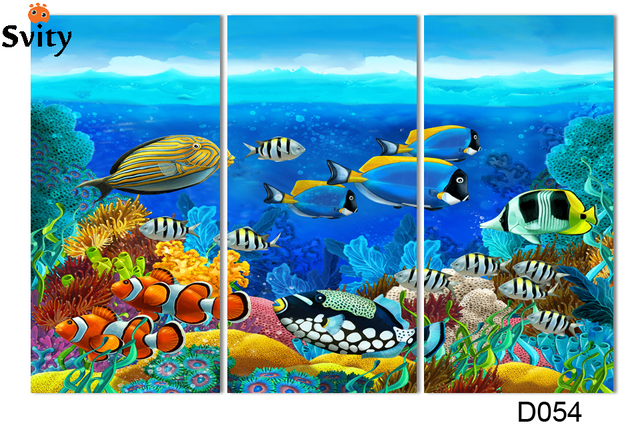 3 rectangle home decoration free shipping section wall canvas painting tropical marine fish digital image