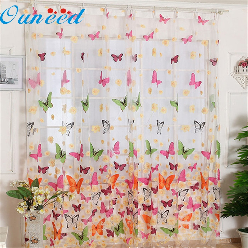 Home Wider Hot Selling Butterfly Print Sheer Window Panel Curtains Room Divider New For Living Room Bedroom Girl Free Shipping