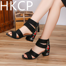 HKCP 2019 new summer sandal female temperament thick with a retro embroidered shoes ethnic wind sandals tide C075