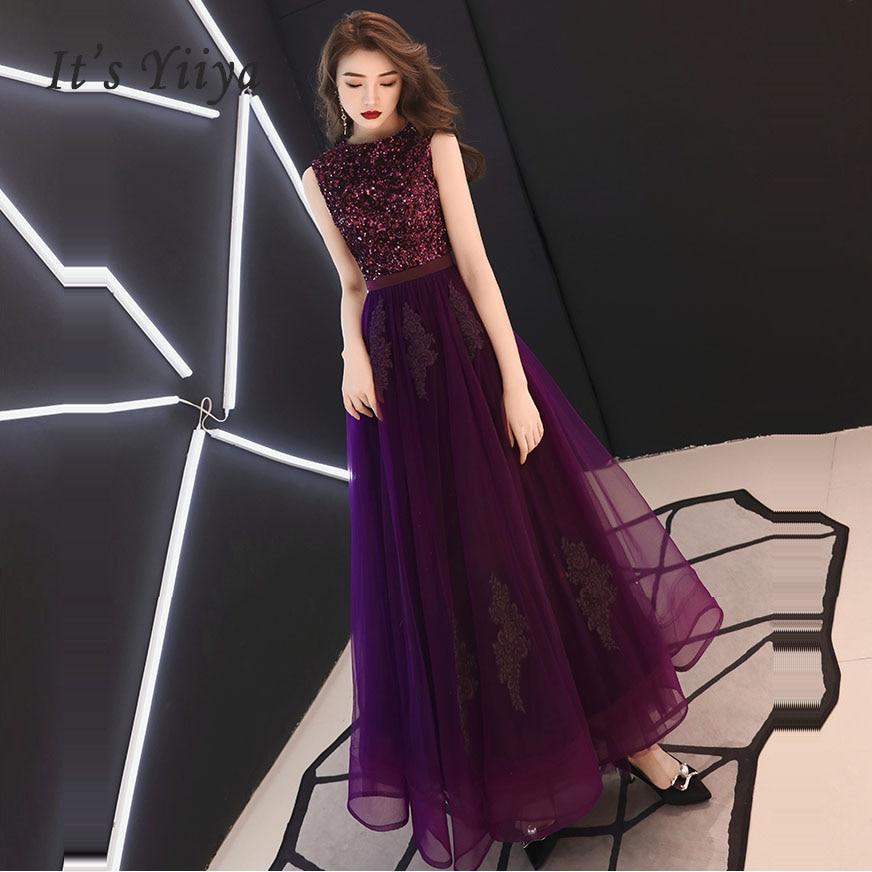 c536afc77605 Vestidos De graduación púrpura cuello redondo lentejuelas sin mangas  vestido largo para mujer fiesta ...