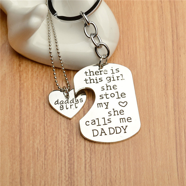 946f2f7d Hot sale There is this girl she Stole my heart she calls me DADDY DAUGHTER  Dog Tag Heart Pendant Necklace Father's Gift Jewelry