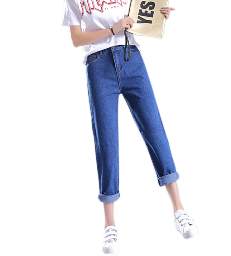 2018 Vintage Pocket Boyfriend   Jeans   For women High Waist Denim   Jeans   Slim Mom Pencil   Jeans   Woman Blue Denim Pants Plus Size