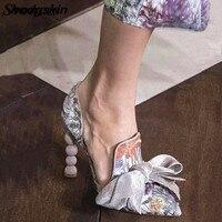 Принт из темно большая бабочка узел Бисер высоком каблуке Для женщин Туфли лодочки D'Orsay & Two Piece туфли под банкетное платье дамы