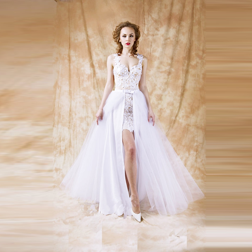 Detachable Wedding Skirts Wedding Train Custom Made A Line Floor Length Full Length Maxi Skirt Front Slit White Tulle Long Skirt