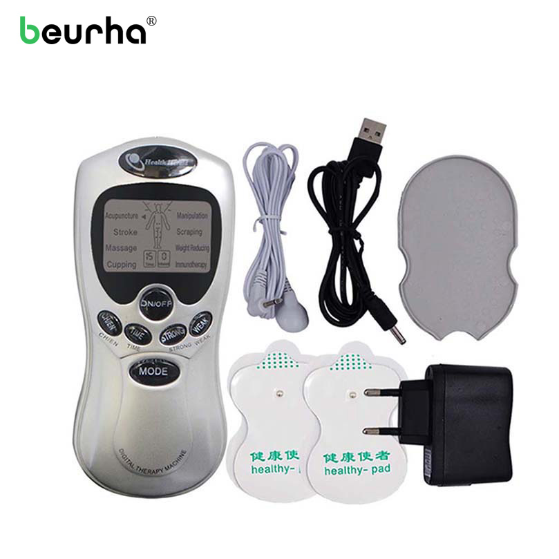 4 pcs Pads Full Body Muscle Relax Therapy Electric Body Slimming Dual Massager Neck Wrist Massager Electrical Stimulator Pulse 2017 full body massager pulse slimming muscle relax massage electric slim 4 pads jun30 15