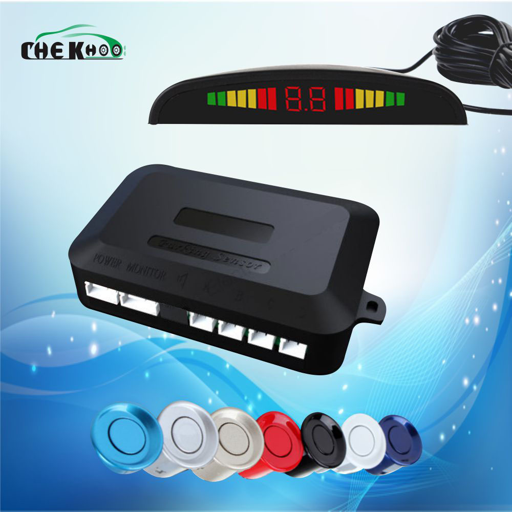 цена на Car Parking Sensor System Led Display 4 Sensors 22mm Parktronic Reverse Parking Sensor Kit Radar Sensoru Detector Parkeersensor