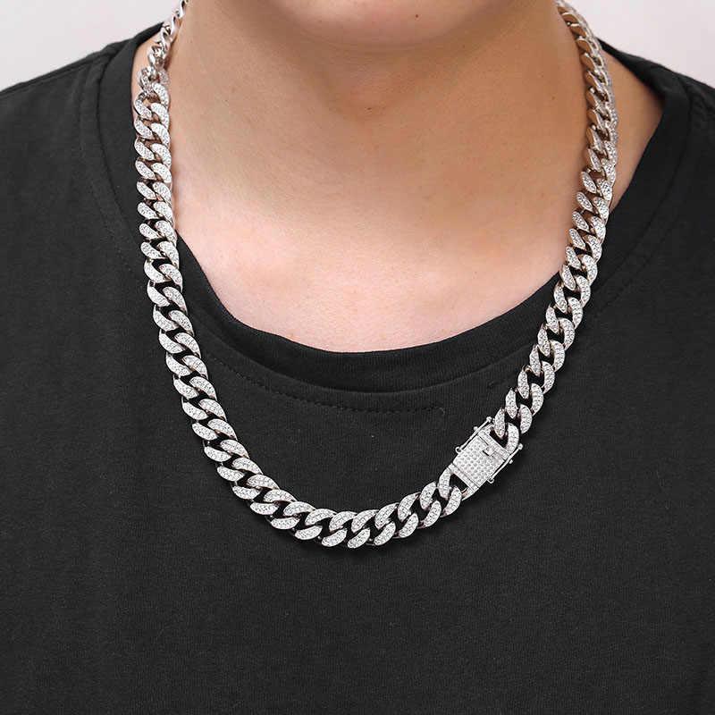 """18 """"-30"""" o szerokości 12mm Miami kubańska łańcucha naszyjnik mężczyźni Hip Hop raper Bling Iced Out mikro pave AAA CZ Link Chain złoty srebrny biżuteria"""