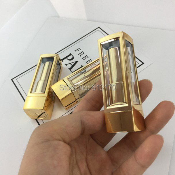 12 1mm Empty Elegant Lipstick Tube Gold Black Silver Lip Balm Packing Container Clear Window Plastic